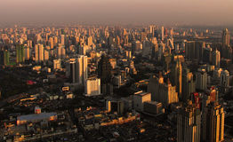 Stone jungle. Evening panorama of the city of Bangkok, Thailand royalty free stock photography