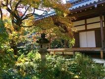 Stone kasuga lantern in Kyoto garden. Jojakko-Ji in Arashiyama royalty free stock photography