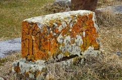 Stone khachkar at Noratus medieval cemetery,Armenia,unesco Royalty Free Stock Photos