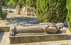 The stone king. The traditional tomb of the christian king in archaeological site of Carthage, Tunisia royalty free stock image