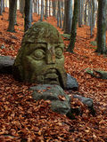 Stone knight. Statue of knight in autumn forrest on czech holy mountain Blanik Stock Photo