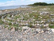 Stone labyrinth on the Big Solovki island, Russia Stock Photos