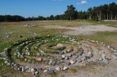 Stone labyrinth for meditation Stock Photo