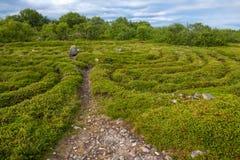Huge stone labyrinth. Stone labyrinths on the Bolshoy Zayatsky Island. Solovetsky archipelago, White Sea, Russia stock photography