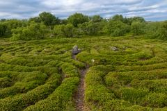 A gigantic structure in the form of a labyrinth. Stone labyrinths on the Bolshoy Zayatsky Island. Solovetsky archipelago, White Sea, Russia stock images