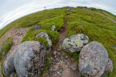 Entrance to the maze. Stone labyrinths on the Bolshoy Zayatsky Island. Solovetsky archipelago, White Sea, Russia royalty free stock photo