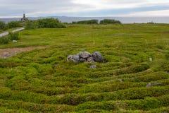 Labyrinth on the beach. Stone labyrinths on the Bolshoy Zayatsky Island. Solovetsky archipelago, White Sea, Russia royalty free stock image