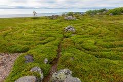 Pathway to the labyrinths. Stone labyrinths on the Bolshoy Zayatsky Island. Solovetsky archipelago, White Sea, Russia stock photo