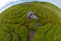 Stone Maze Center. Stone labyrinths on the Bolshoy Zayatsky Island. Solovetsky archipelago, White Sea, Russia stock photography