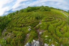 Wide view of the maze. Stone labyrinths on the Bolshoy Zayatsky Island. Solovetsky archipelago, White Sea, Russia royalty free stock image