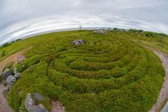 Stone labyrinths on the Bolshoy Zayatsky Island. Solovetsky archipelago, White Sea, Russia stock photo