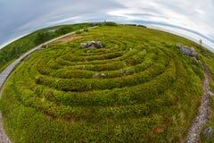 Stone labyrinths on the Bolshoy Zayatsky Island. Solovetsky archipelago, White Sea, Russia stock photography