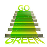 Stone ladder with green carpet and GO GREEN message Stock Photography