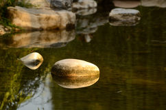 Stone in a lake. The fall of 2012,One aftetnoon,a lake with some cobble stone in a garden,Beijing,China royalty free stock photography