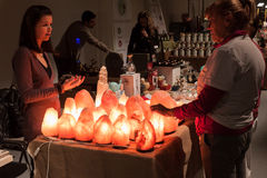 Stone lamps on sale at Olis Festival in Milan, Italy Stock Image