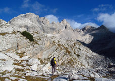 Stone landscape in the Alps mountains, Marmarole, a man rocky peaks Stock Photography