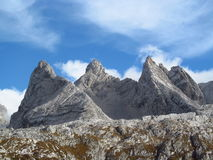 Stone landscape in the Alps mountains, Marmarole, rocky peaks. Stone landscape in the Alps mountains, Marmarole. The view of the beautiful rocky peaks, mount and royalty free stock images