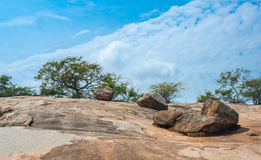 Stone landscape in Makhabalipuram, Tamil Nadu, India Royalty Free Stock Photos