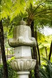 Stone Lantern in a Beautiful Garden at Monte above Funchal Madeira. This wonderful garden is at the top of the cablecar from the seafront in Funchal. It is Royalty Free Stock Photos