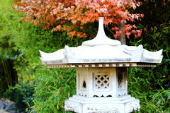 A Stone Lantern And The Garden With Maple Stock Photo