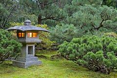 Stone Lantern at Japanese Garden. Stone Lantern at Portland Japanese Garden Lit at Dawn stock image