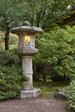 Stone Lantern at Japanese Garden 2. Stone Lantern at Portland Japanese Garden Lit at Dawn 2 stock photography