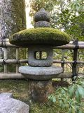 Stone lantern in Japanese garden covered with moss. Japanese stone lantern in Japanese garden covered with fresh green moss Stock Photo