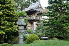 Stone Lantern by Japanese Garden Entrance Stock Photos