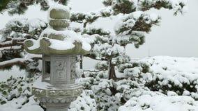 Stone Lantern Snow stock footage