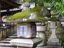 Stone lanterns, Himure Hachiman Shrine, Omi-Hachiman royalty free stock image