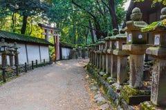 Stone Lanterns at Kasuga Taisha in Nara Stock Image