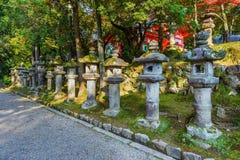 Stone Lanterns at Kasuga Taisha in Nara Stock Images