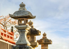Stone lanterns at Kiyomizu-dera Temple Royalty Free Stock Photography