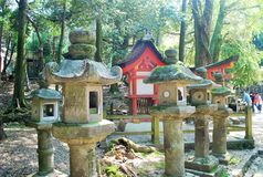 Stone Lanterns in Nara, Japan Royalty Free Stock Photos