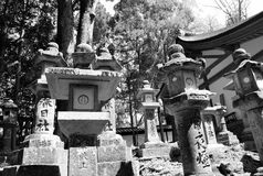 Stone Lanterns in Nara, Japan Stock Photo
