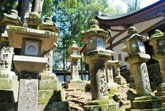 Stone Lanterns in Nara, Japan Stock Photos