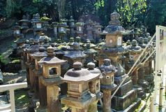 Stone Lanterns in Nara, Japan Royalty Free Stock Photography