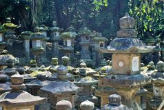 Stone Lanterns in Nara, Japan Stock Photography
