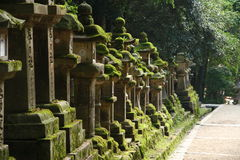 Stone lanterns in Nara, Japan Royalty Free Stock Images