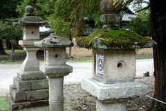 Stone Lanterns Nara, Japan Stock Photo