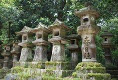 Stone Lanterns in Nara Stock Photo