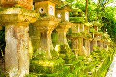 Stone Lanterns Repeating Row Moss Japanese Nara Royalty Free Stock Image