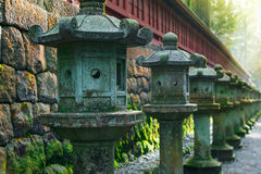 Stone Lanterns on the Side of Nikko Toshogu Shrine Royalty Free Stock Photo