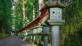 Stone Lanterns on the Side of Nikko Toshogu Shrine Royalty Free Stock Image