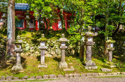 Stone lanterns at Tamukeyama Hachimangu Shrine in Nara Royalty Free Stock Photography