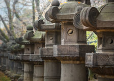 Stone Lanterns of Toshogu Shrine at Ueno Park in Tokyo Stock Images