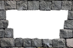 Stone lava wall frame with empty hole Royalty Free Stock Image