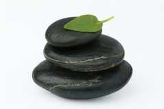 Stone with leafs. Black stones on top of eachother with a green leaf and white background Royalty Free Stock Photo