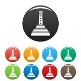 Stone lighthouse icons set color royalty free stock photography