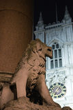 The stone lion. Behind westminster  abby Stock Images